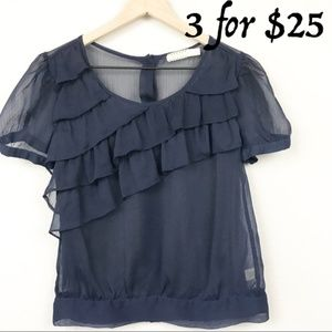 Pins and Needles Urban Outfitters Blue Ruffle Top